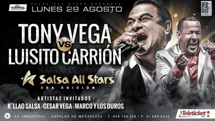 Afiche oficial del show Salsa All Stars 2 que se llevará a cabo en Independencia. (Imagen: Facebook)