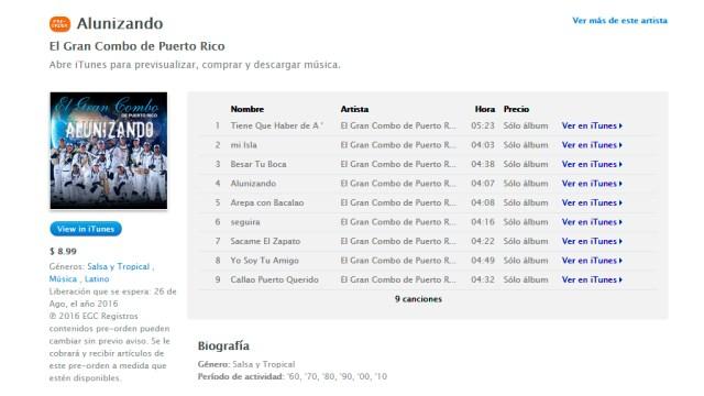 El disco del Gran Combo ya está en preventa en las principales plataformas virtuales. (Imagen: CapturaiTunes)