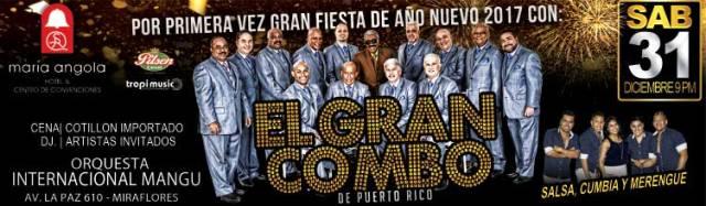 Afiche oficial del show de fin de año donde tocará el Gran Combo. (Imagen: Teleticket)