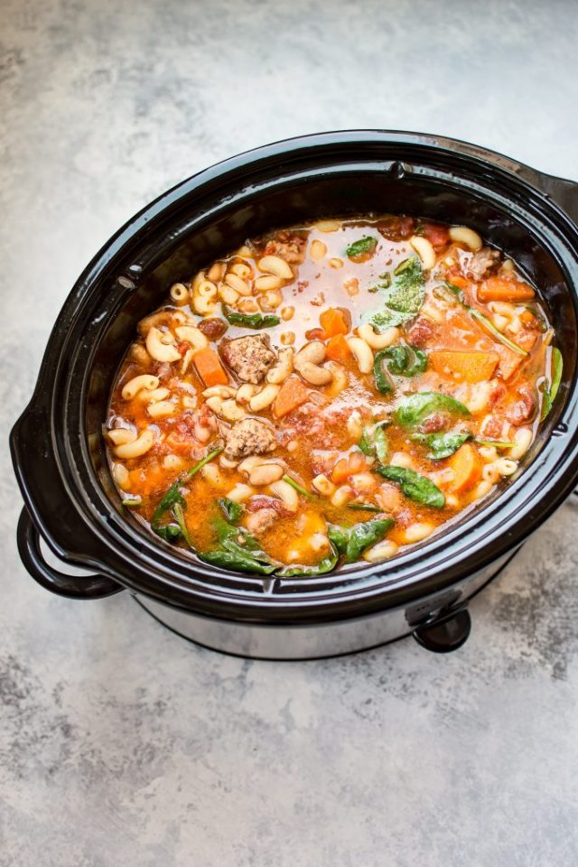 This Crockpot Italian sausage soup recipe is hearty, filling, and full of flavor. A wonderful and easy set it and forget it soup recipe.