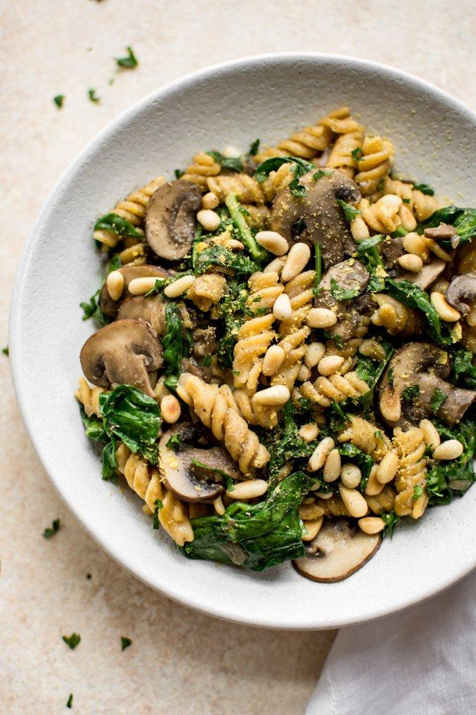 Vegan Spinach and Mushroom Pasta • Salt & Lavender