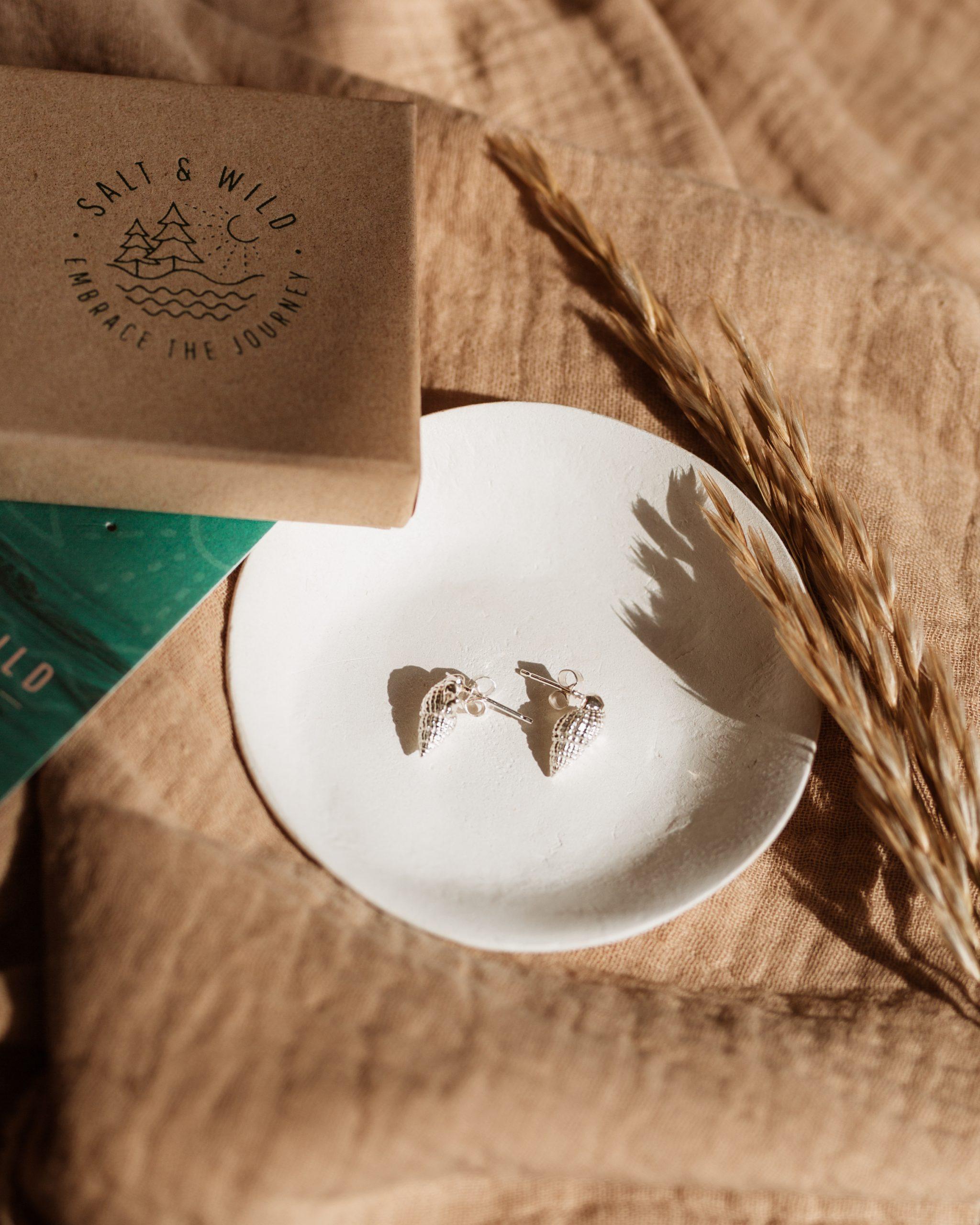 ethical silver whelk stud earrings by Salt & Wild