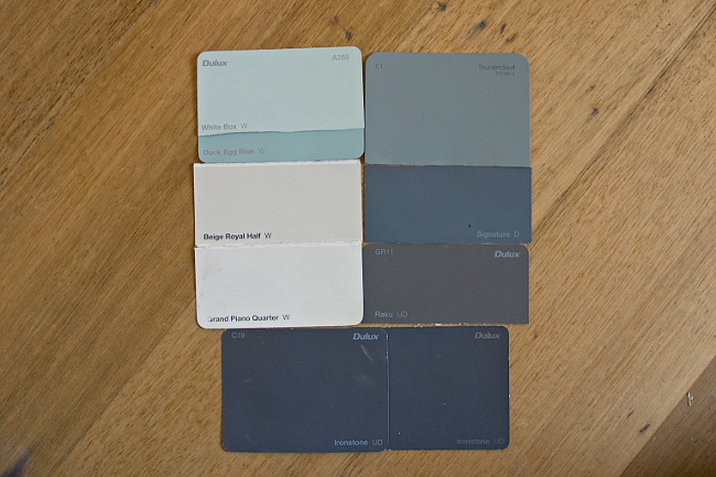 Interior paint palette: White Box/Duck Egg Blue; Thundercloud; Signature; Raku; Ironstone; Grand Piano Quarter; Beige Royal Half; all Dulux except Taubmans Thundercloud