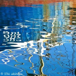 reflections of Jacoba in harbour water