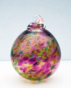 5.©SALT glass studios. Hand Blown Glass Spheres.Red Green  & Yellow Transparent. DSCF5595