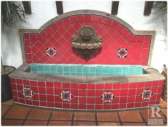 Cantera Fountain with Talavera Tiles