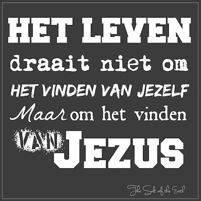 leven draait niet om het vinden van jezelf, maar om het vinden van Jezus