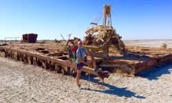 Abandoned barge on the shore of Salton Sea