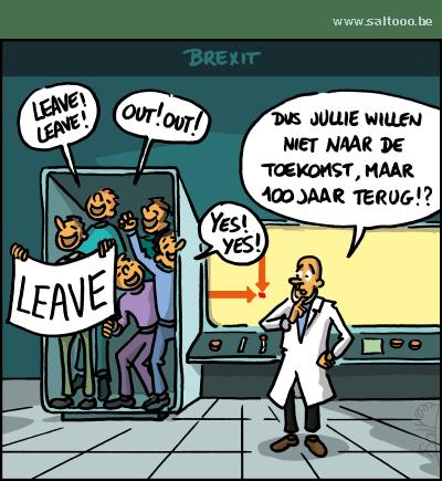Thema van de cartoon op deze pagina: Een te groot deel van Engelsen wil uit Europa, klik op de cartoon om naar de volgende te gaan