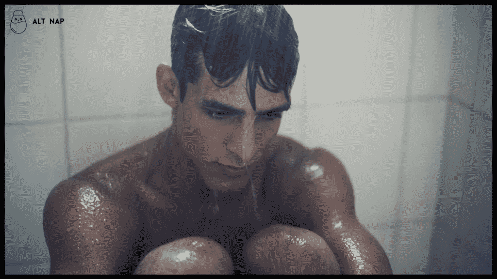 men crying in shower