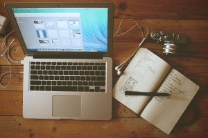 Laptop and Sketchbook