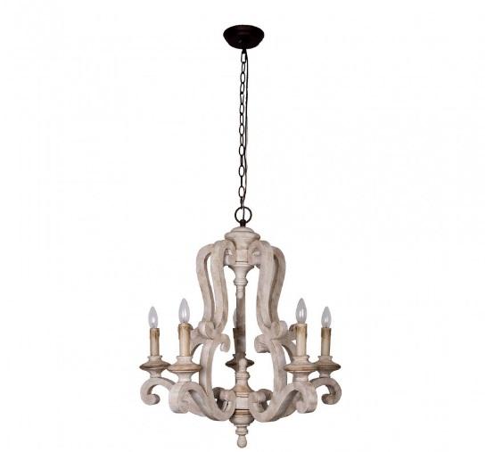 white wooden chandelier