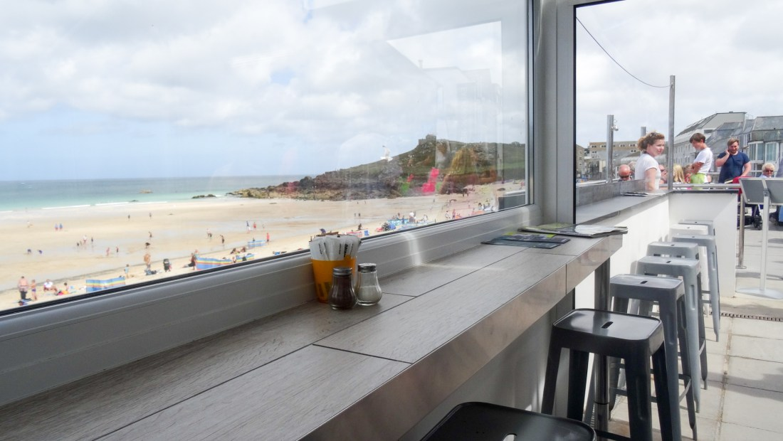 seaview dining over porthmeor beach, st ives