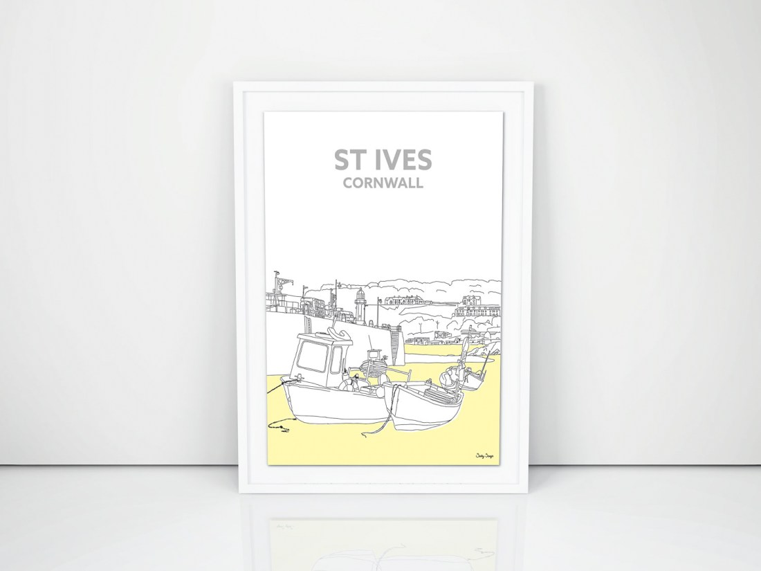 Cornish Christmas Gifts St Ives Harbour Drawing Art