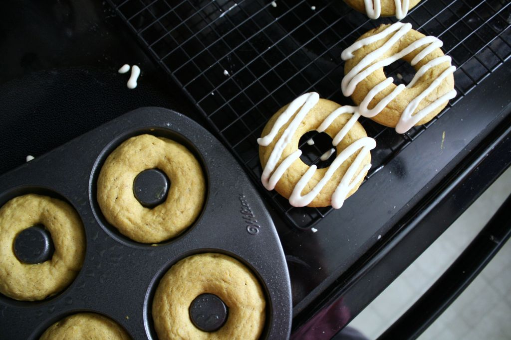 Pumpkin Spice Donuts with Maple Cream Cheese Icing