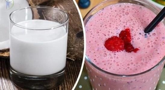 Batido de leche de coco y fresas refrescante y energizante