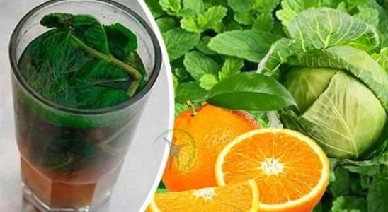 Batido natural y adelgazante de col menta y naranja