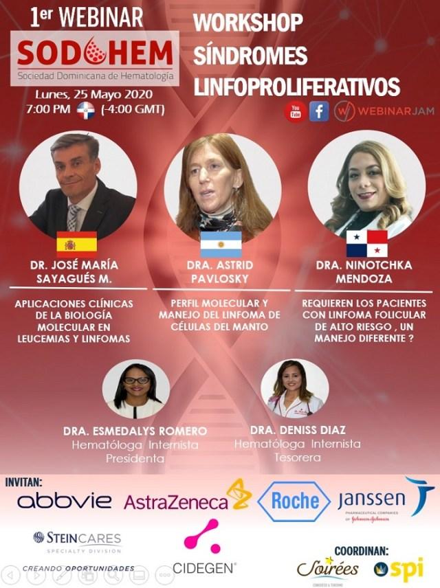 Sodohem hará este lunes 25 webinar workshop internacional sobre síndromes linfoproliferativos