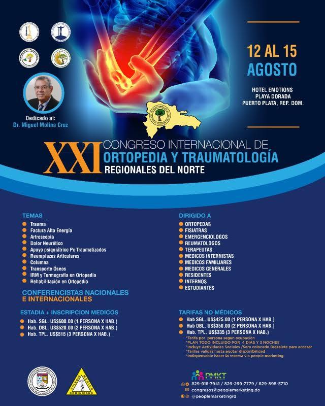Sociedad de Ortopedia y Traumatología da a conocer detalles XXI Congreso Internacional Regionales del Norte 2021