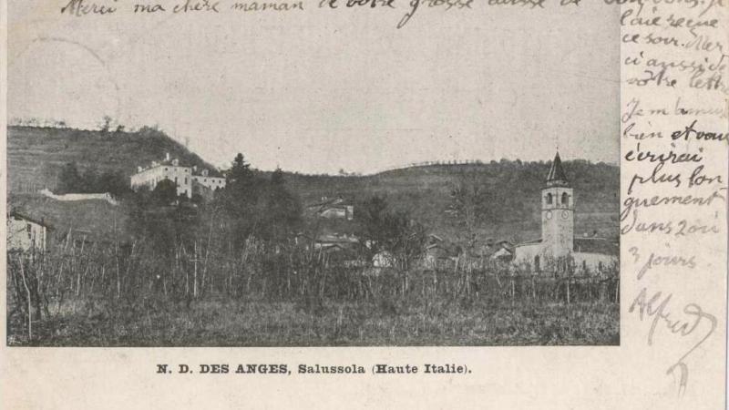 Vecchia Salussola: San Secondo in una cartolina spedita dal seminario missionario della Ca' Bianca ad inizio '900