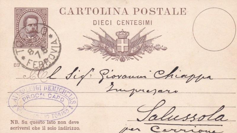 Vecchia Salussola: Una cartolina Postale datata 1889
