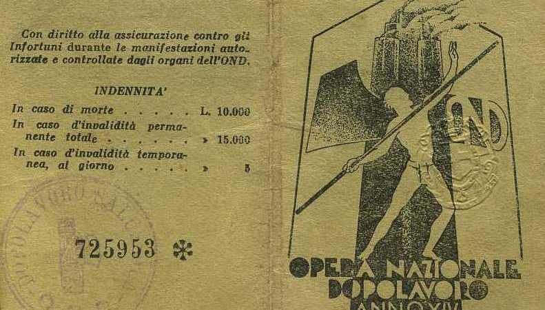 Curiosità: Tessera Opera Nazionale Dopolavoro Comunale di Salussola nel 1936