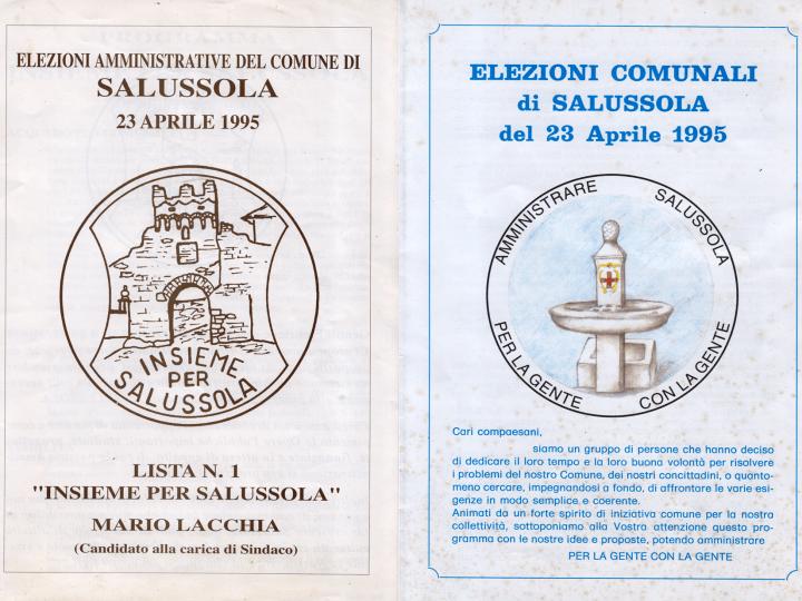 Curiosità: Nel 1995 una donna si candidò sindaco di Salussola ma non fu eletta
