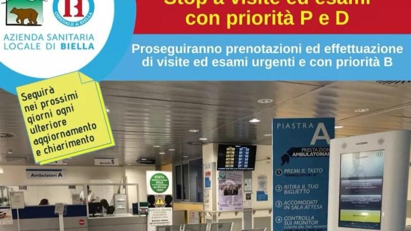 Covid-19: Dal 3 novembre niente esami con priorità P e D all'ospedale degli Infermi