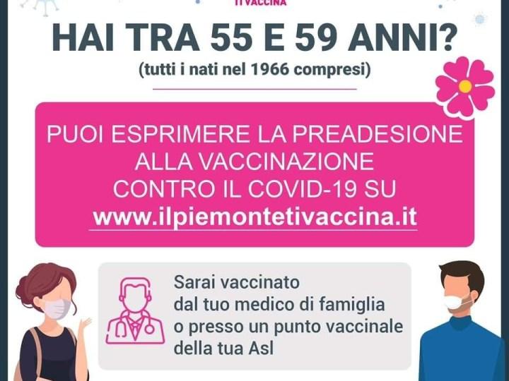 Se hai tra i 55 e 59 anni puoi preaderire alla vaccinazione anti covid