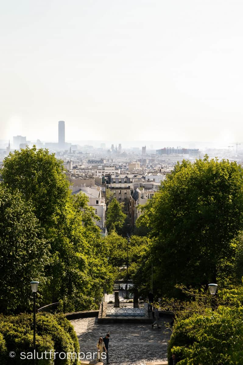 View over Paris from the Patio at top at the Parc de Belleville; you see Montparnasse, the Eiffel tower and the entire city