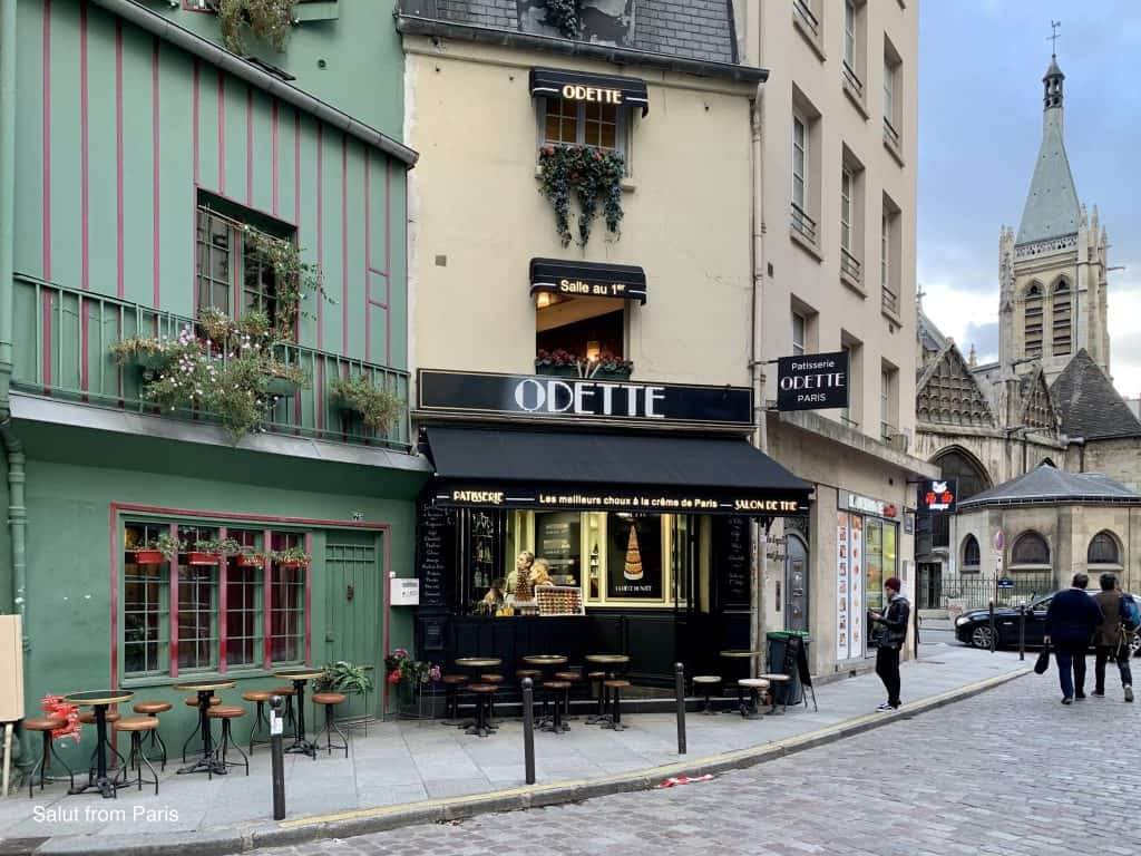 "Rue Galande and the famous patisserie ""Odette"""