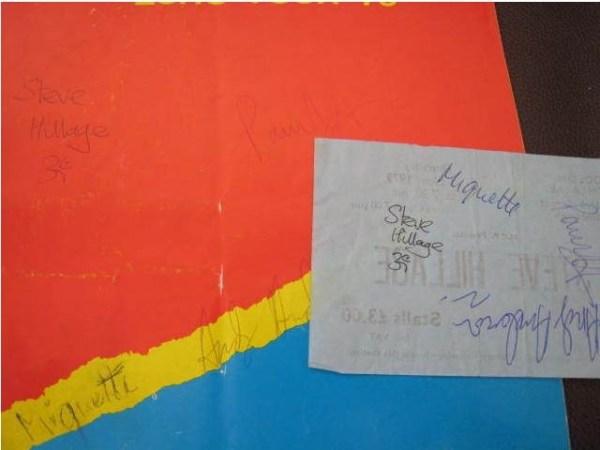 Programma del tour di Hillage firmato
