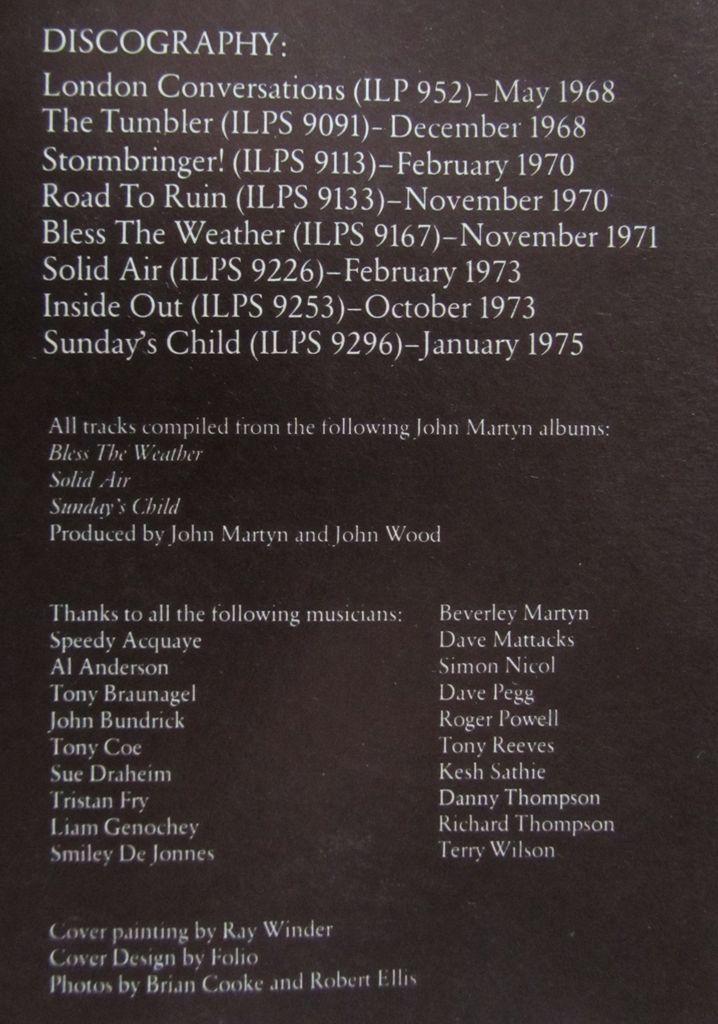 John Martyn So Far So Good Crediti