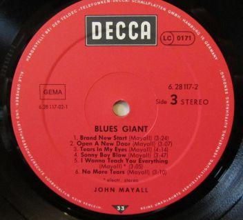 John Mayall Blues Giant Etichetta Lato 3