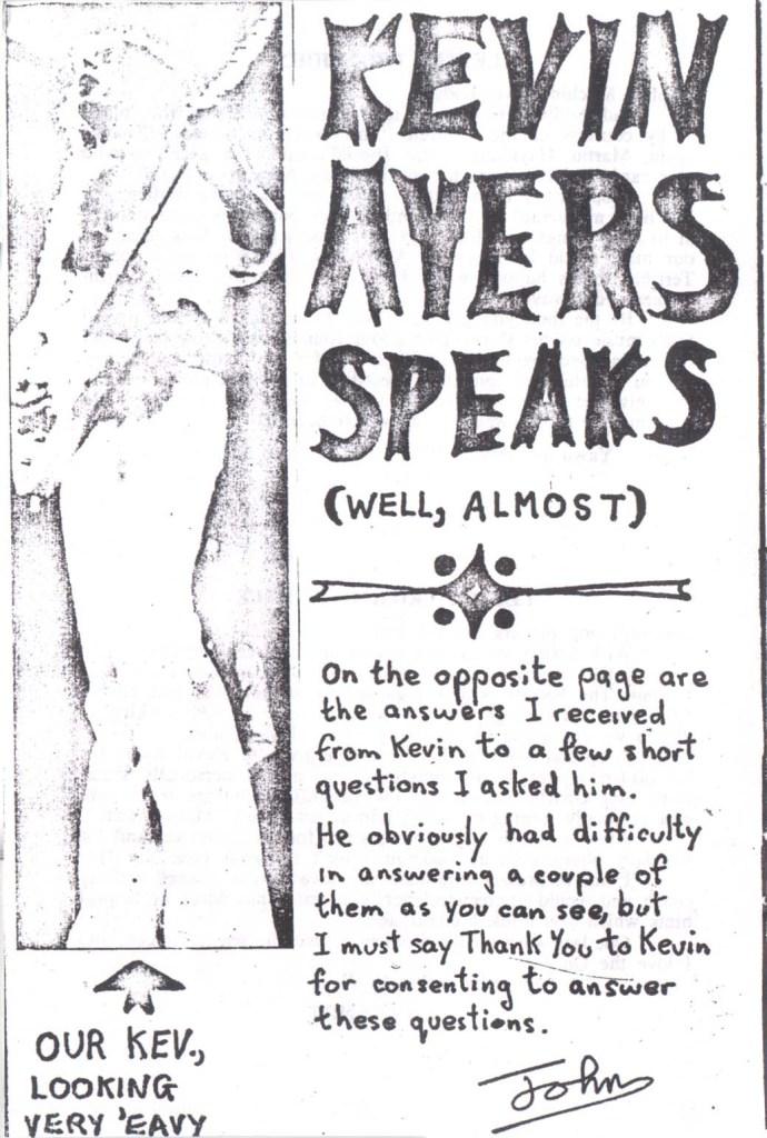 Syd Barrett Fanzine March 1973 Kevin Ayers interview