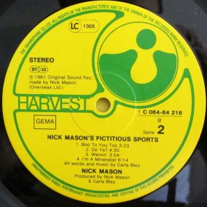 Mick Mason's Fictitious Sports B Side