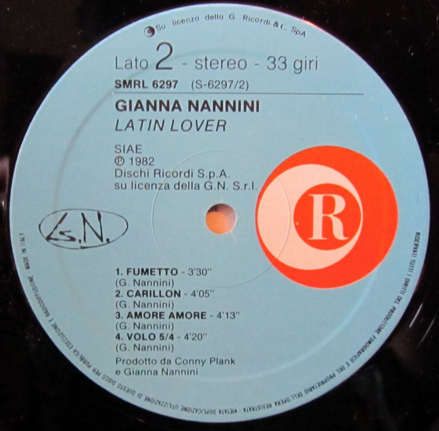 Gianna Nannini, Lato b, etichetta vinile