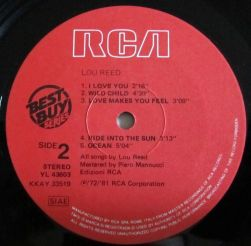 Lato 2, vinilo de Lou Reed