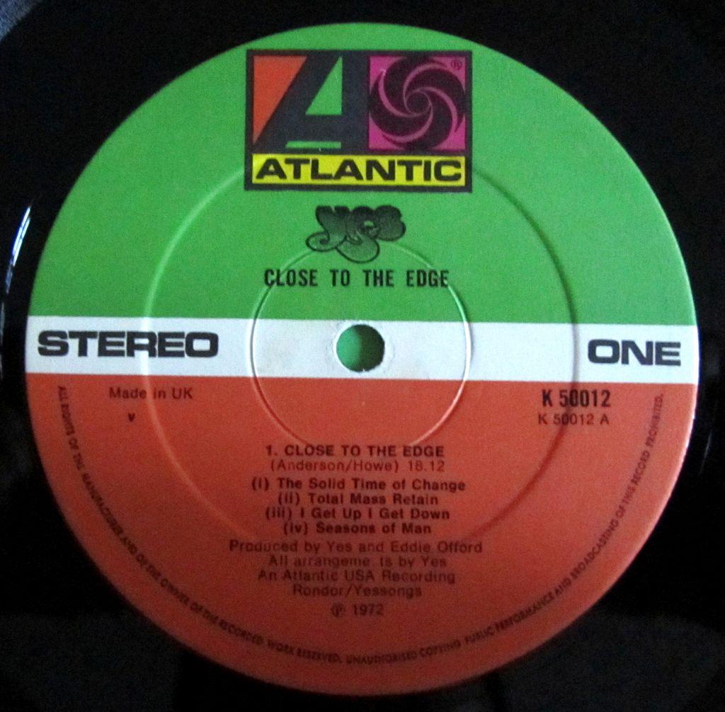Yes Close to the Edge Etichetta Lato a