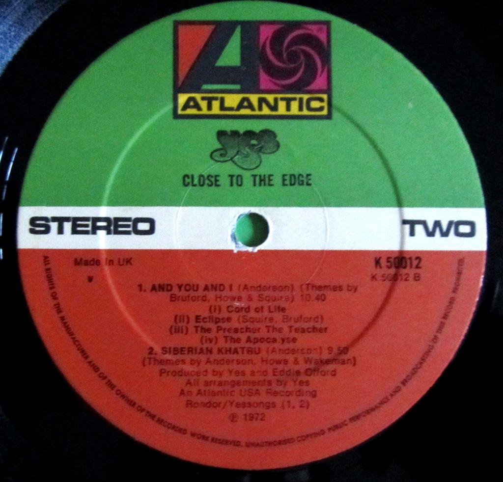 Yes Close to the Edge Etichetta Lato b