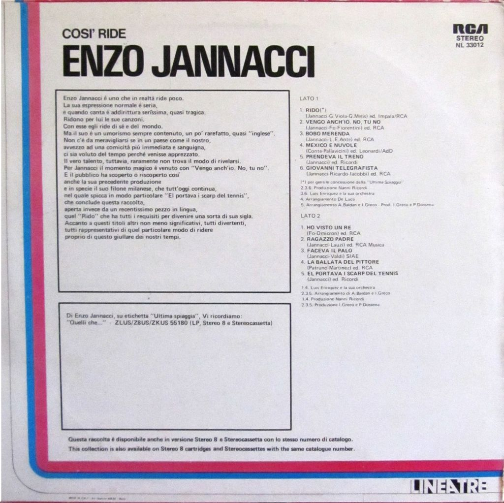 jannacci lp copertina 33 giri, vinile
