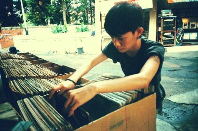 digging in vinyl LPs
