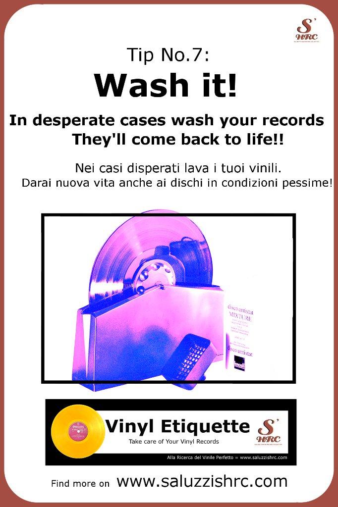 Vinyl Etiquette Manutenzione Vinile Wash it