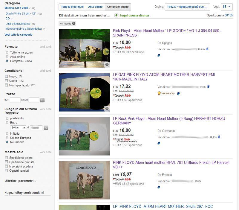 Atom Heart Mother Spese Spedizione comprare vinili usati