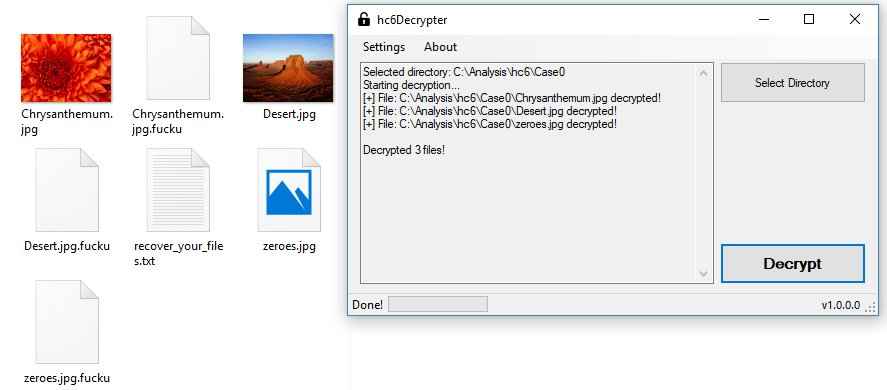 HC6 Ransomware decryptor