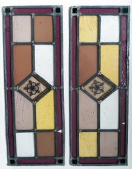 "Beautiful Antique Stain Glass Leaded Panels Pair (W-10.25"" x H-28"")"