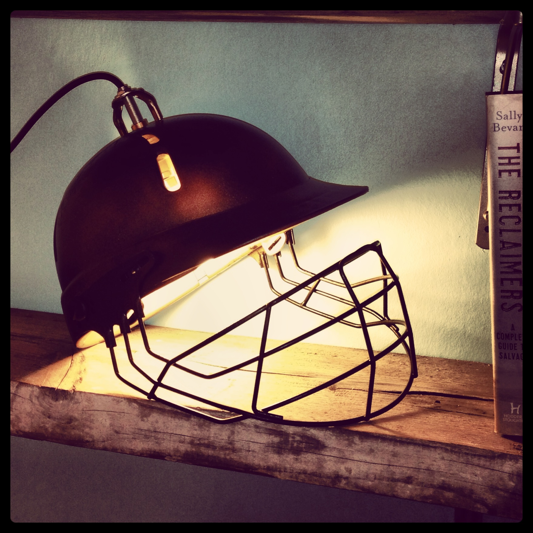 Upcycled industrial cricket helmet lamp