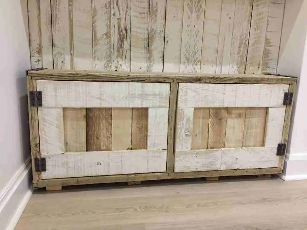 Bespoke cabinets handmade from reclaimed scaffold boards, pallet wood and steel angle