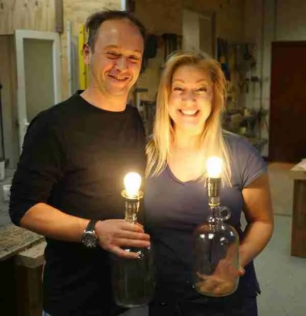 we made our first bottle lamps