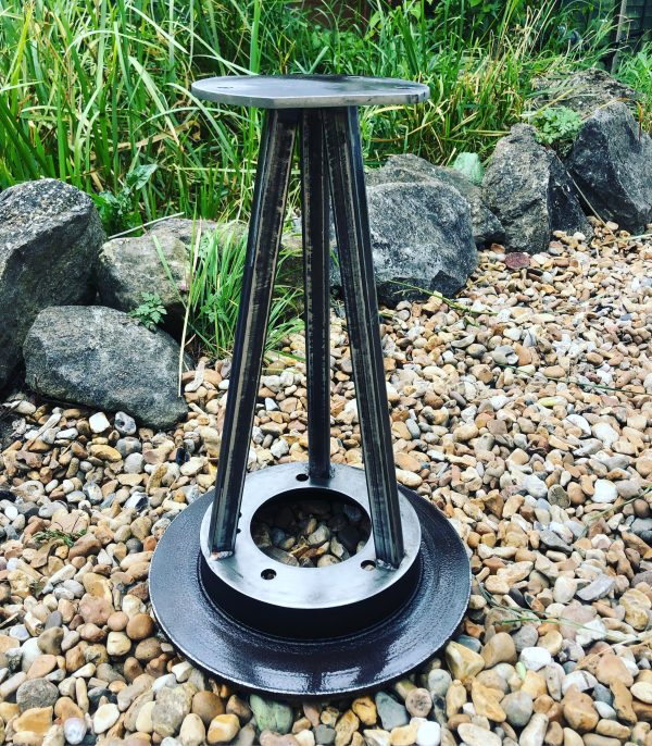 car wheel table base fabricated from mild steel brake disk and box section